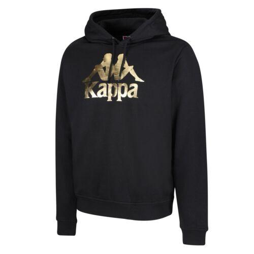 Kappa 222 Esmio Authentique Noir Brillant Or Logo Capuche HOMME Pull Chaud Comfy