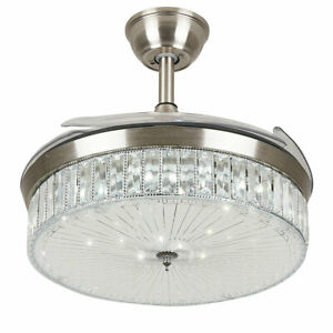 42-034-Crystal-Ceiling-Fan-LED-Dimmable-Chandelier-Retractable-Fan-Remote-Control