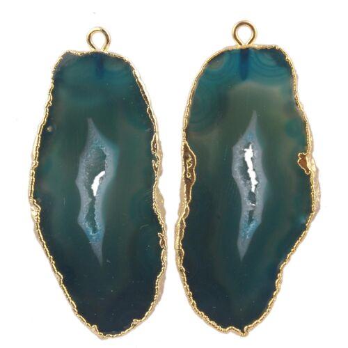 Handmade Natural Geode Slice Druzy Gold Plated Girls Earrings DIY Pair Connector