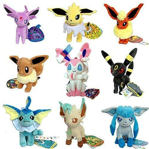 9 PCS Pokemon Sylveon Eevee Espeon Umbreon Jolteon Flareo Stuffed Plush Toy