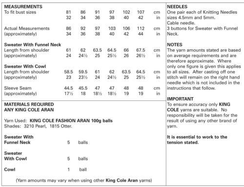Jersey para mujer cableados Raglán /& Capucha Damas Tejer patrón King Cole Aran 5155