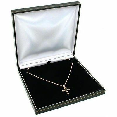 Black Leather Necklace Gift Box Jewelry Display Case