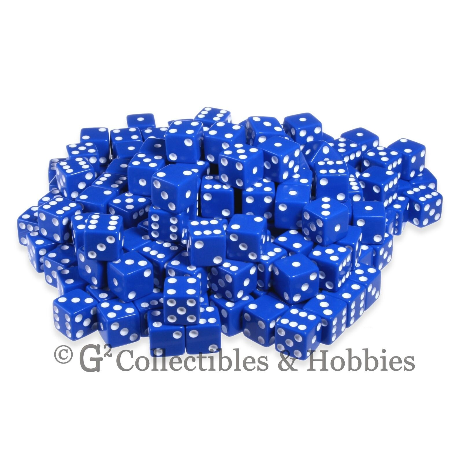 NEW 200 16mm 5 8 inch bluee w  White Pips D6 Six Sided Game Dice Bulk Koplow