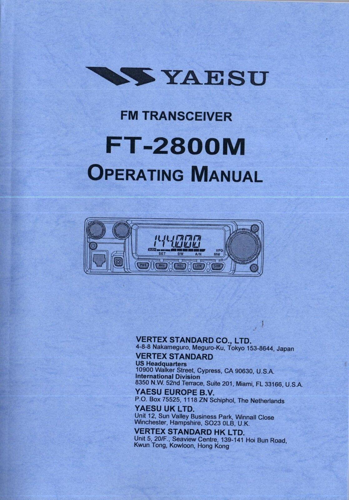 palacemuseum NEW Yaesu FT-2800M Operating Manual Book in English