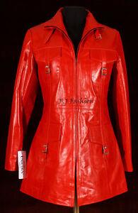 new product b4186 ac344 Dettagli su F.J. Giacca Rossa Da Donna In Pelle Bovina Lunga Modello  Vanessa Alla Moda