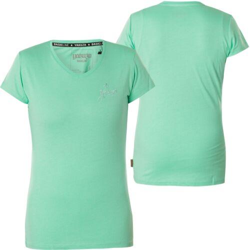 Yakusa Femme Basic Line V-Neck Shirt gsb-14166 au Spearmint Turquoise