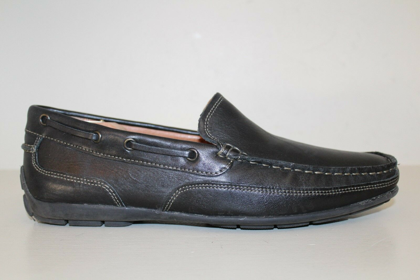 Bass Mens Driving Loafer shoes Sz 10.5 M Hank Black Leather Casual Slip On MocToe