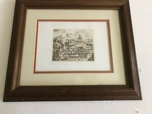 Original-Etching-by-Edmund-Chojnacki-titled-Burg-zu-Esslingen-Signed-amp-Numbered