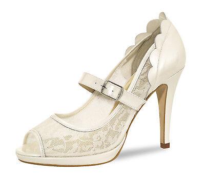 Brautschuhe Hochzeitsschuhe Pumps Schuhe Ivory Creme 39 Peeptoe Strass Ballschuh | eBay