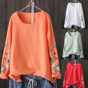 Women-Girl-Embroidery-Printed-Tops-Round-Neck-Loose-Long-Shirt-Blouse-Pollover-P