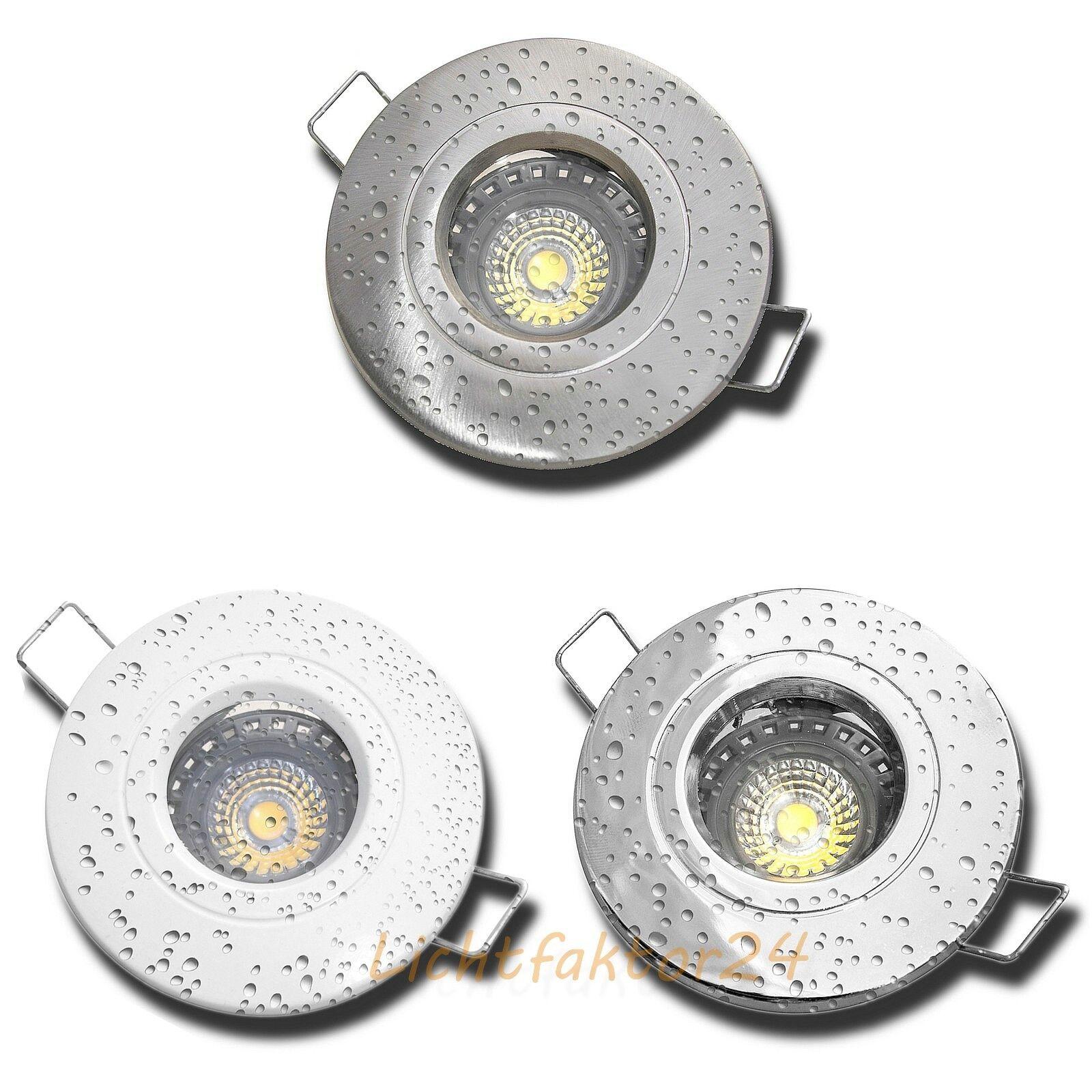 1-10er Set Bad Einbaustrahler Nautik44 230V IP44 5W LED Spots über Bad & Dusche