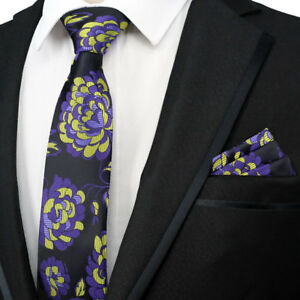 23f4b05c8f6d Image is loading Purple-Yellow-Floral-Classic-Mens-tie-Handkerchief-Set-
