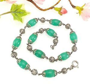 Collar-de-Abalorios-de-Vidrio-Antiguo-Vintage-Verde