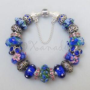 68ae88f88f88 Detalles de Pandora Original Pulsera con Europeo Azul Cobalto Floral  Artesano Murano Cuentas