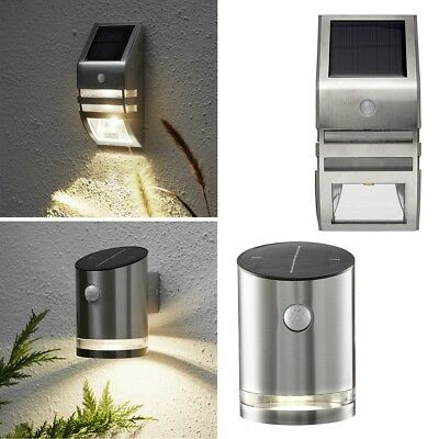 Solar LED Wandleuchte Wandlampe mit Bewegungsmelder Strahler Edelstahl SO24-1