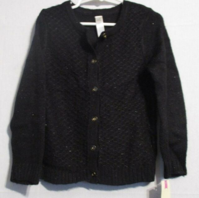 c1ff9057e Cherokee Toddler Girls Cardigan Button Down Sweater Sparkly Ebony ...