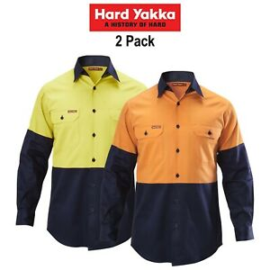 Mens-Hard-Yakka-Shirt-Hi-Vis-2-Pack-Long-Sleeve-Drill-Work-Safety-Cotton-Y07982