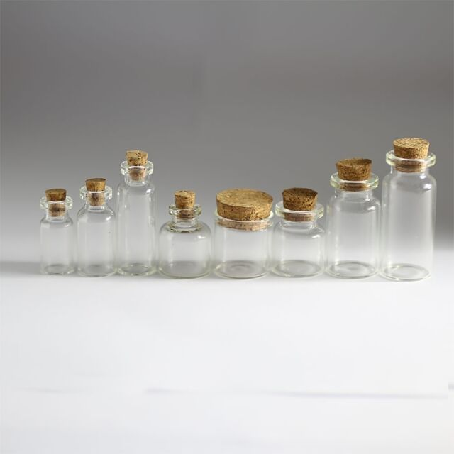 11x22mm Small Tiny Empty Glass Bottle Vial with Cork Brown 10//30//50//100Pcs 1ml