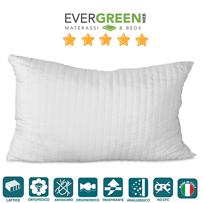 Cuscino Guanciale Lattice Effetto Piuma D'oca, Per Letto Materasso Latex Pillows Dolorante