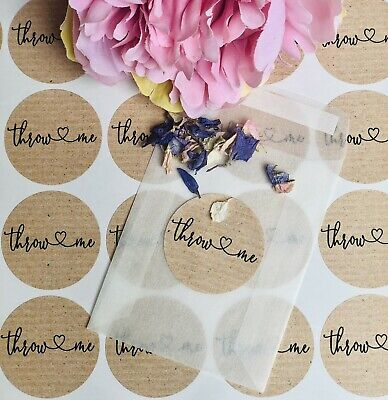 25 Throw me 37mm wedding confetti sticker labels SEE OTHER LISTINGS BAGS PETALS