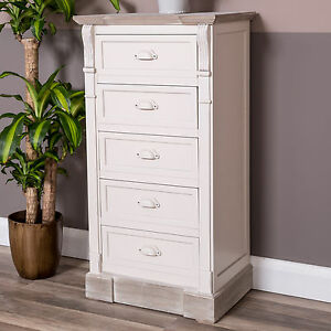 Image Is Loading Cream Chest Of Drawers Shabby Vintage Chic Tallboy