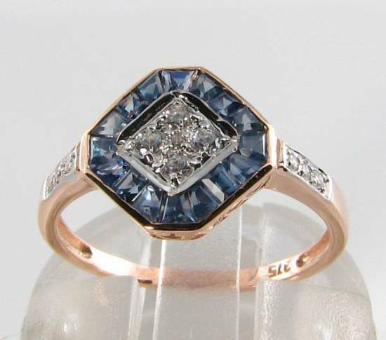CLASS 9CT 9K pink gold blueE SAPPHIRE & DIAMOND ART DECO INS RING FREE RESIZE