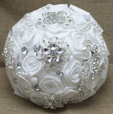 20 cm Bridal Brooch Bouquet Artificial White Flower Faux pearl Posy WB07