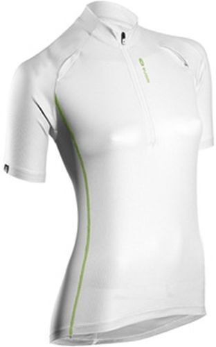SUGOI RPM-X Jersey Womens Medium Cycling Short Sleeve Top Zip White Green