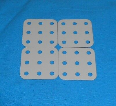 Meccano 2 plaques flexible triangulaire No222 5x4trous bleue