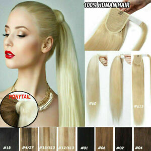 Thick-Real-Remy-Human-Hair-Ponytail-Extensions-Clip-In-Pony-tail-Black-Blonde