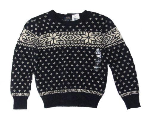 Polo Ralph Lauren Childrens Boys Navy Snowflake Pullover Cotton Linen Sweater