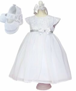 Gr 56,62,68,74,80,86,92 Taufkleid Stirnband+Schuhe  Babykleid