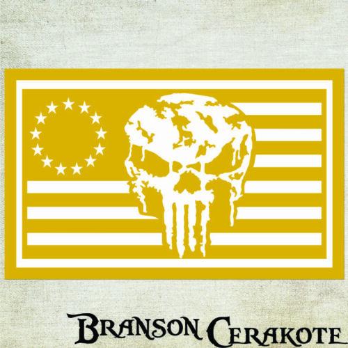 Battleworn Punisher Flag Stencil LotHigh Heat VinylRifle Firearm  Cerakote