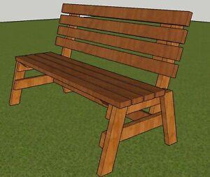 Park Bench Plans 5 Ft Long 2x4 Wood Design Diy Patio Garden Outdoor Furniture Ebay