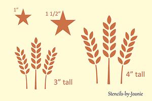 STENCIL Wheat Stem Stalk Barn Star Country Bread Stamp Prim Art ...