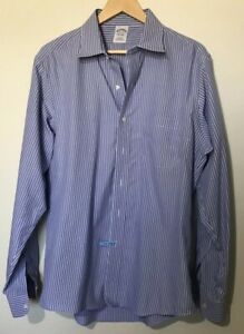 Brooks-Brothers-Dress-Shirt-Blue-Stripe-Non-Iron-Button-Up-16-1-2-36-Mens