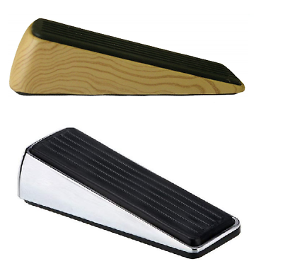 Hsd Premium Qualität Metall Tür Keil Schwer Robust Stay Stop Chrom/holz 100% Garantie Außen- & Türdekoration