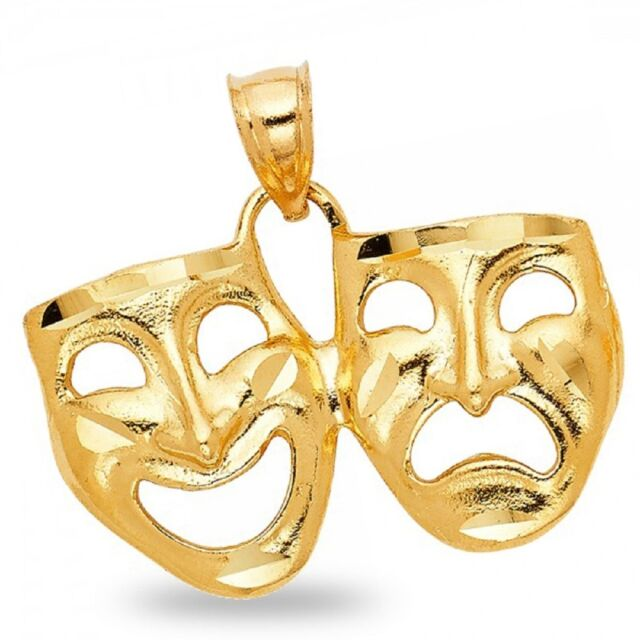14k Yellow Gold Drama Mask Laugh Now Cry Later Pendant Ebay