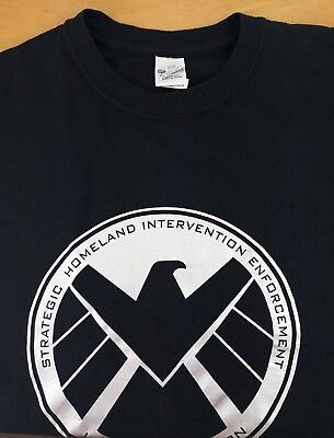 Crest Official Marvel Black Mens T-shirt Agents of Shield logo S.H.I.E.L.D