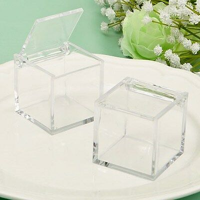 100 Acrylic Cube Shaped Fillable Treat Box Wedding Bridal Shower Party Favors