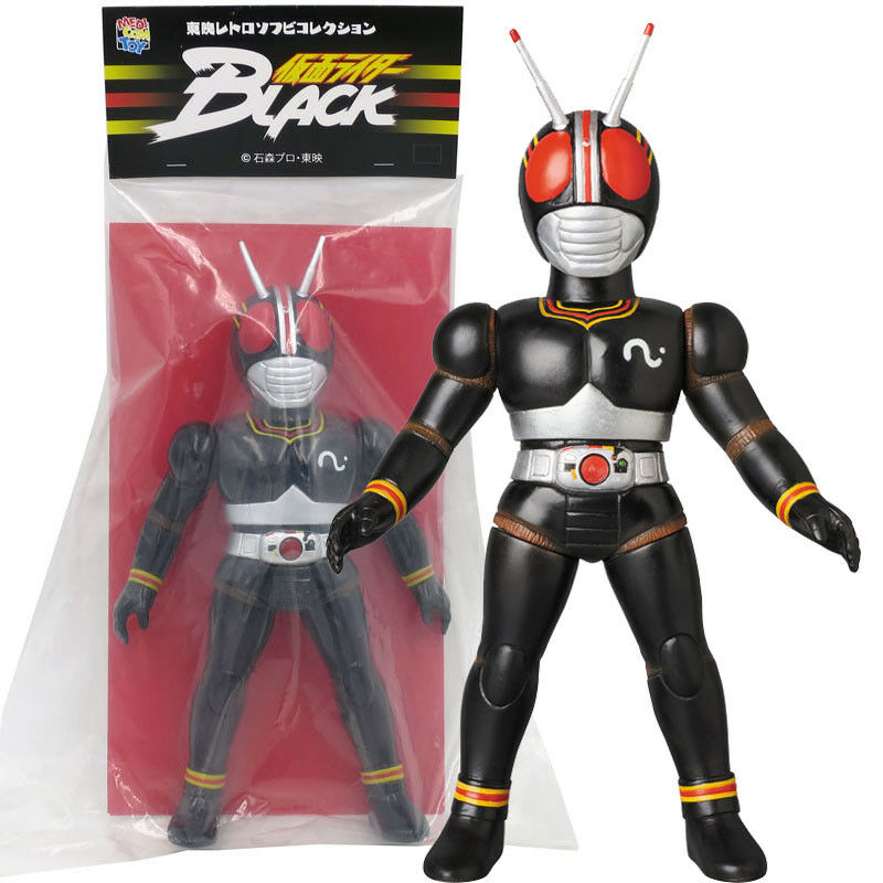 Medicom Toei Retro Vinilo Suave Mancha Masked Rider Kamen Rider Figura Negra