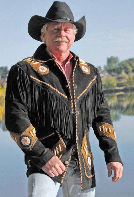 men Vendimia el Cowboy Cuero de Gamuza Capa Nativo Flecos y pinkrio Chaqueta