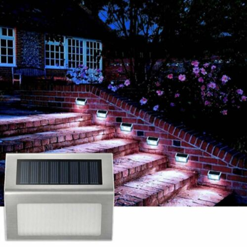 2//4//6X Solar LED Deck Lights Outdoor Path Garden Pathway Stairs Step Fence Lamp