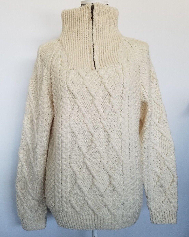 Aran Sweater Market Womens Sweater Ivory Irish Fisherman Wool Size S