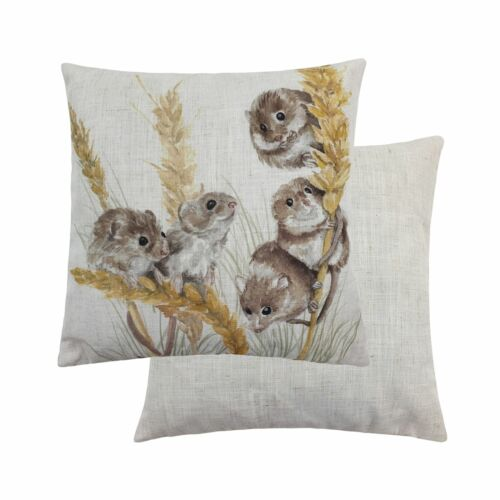 "2 X E LICHFIELD WOODLAND FIELD MICE MOUSE 17"" 43CM CUSHION COVERS"