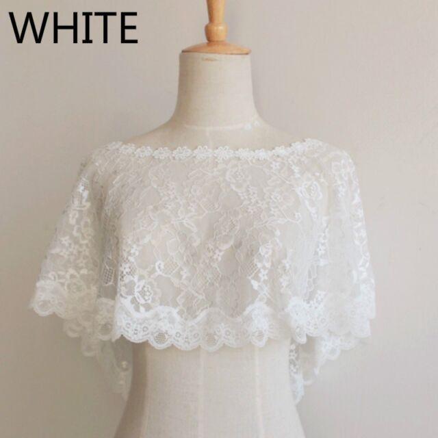 Bridal Lace Shrug Bolero Cape Wrap Shawl Capelet Tulle Mesh Wedding Chic Elegant