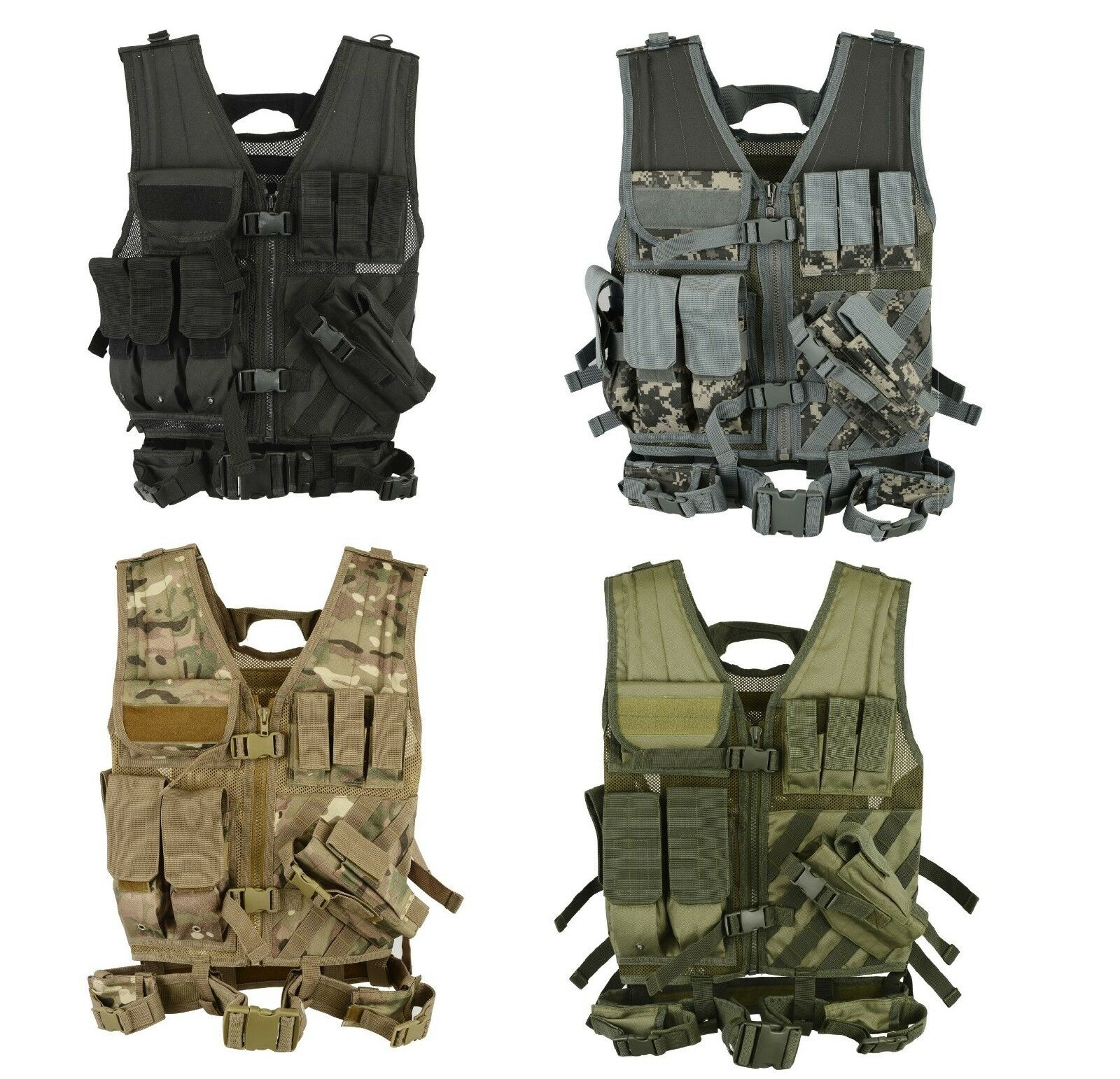 MTP Tactical Assault VEST Airsoft Vests Hunting Molle Attachment Rig Mag Pouches
