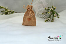 25 x MINI HESSIAN RUSTIC WEDDING FAVOR BAGS JUTE GIFT BURLAP SACK WOODEN HEART