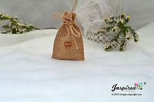 25 x MINI HESSIAN RUSTIC WEDDING FAVOR BAGS JUTE GIFT BURLAP SACK WOODEN HEART