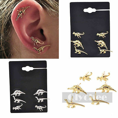 3 Pairs/Lot Gold Silver Dinosaur Earrings Cute Ear Stud Small Unisex Jewelry New